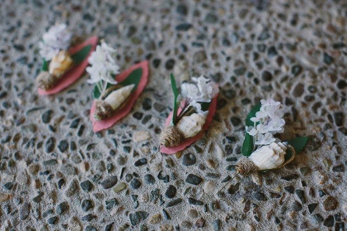 Shell and Marine Buttonholes for Beach Wedding in Fiji