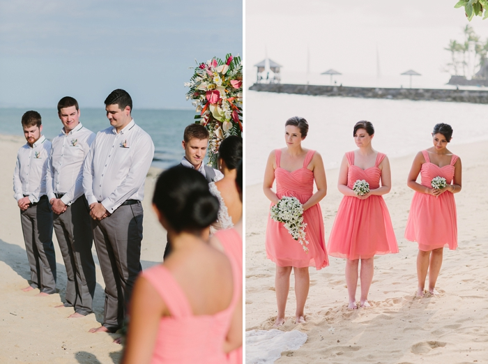 Bridal Party watch on during beach Fiji wedding