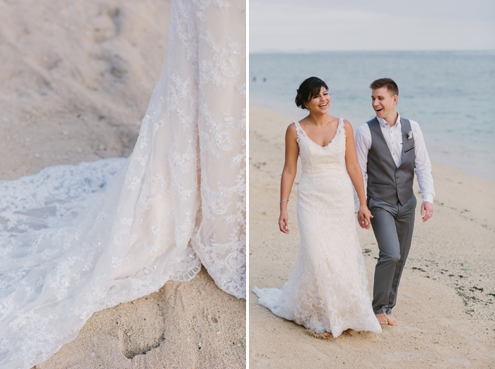 Beach wedding photography on the sand