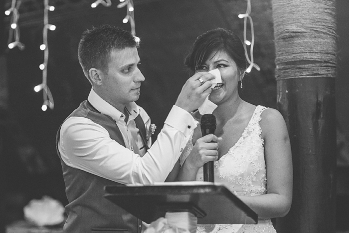 Good Husband wipes Bride's tears