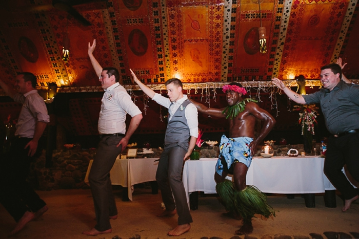 Groom dances with Fiji dancers at Wedding at The Warwick