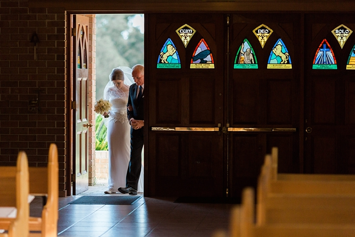 bride enters the church in southern highlands wedding ceremony