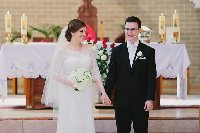 happy couple at their wedding ceremony in bowral