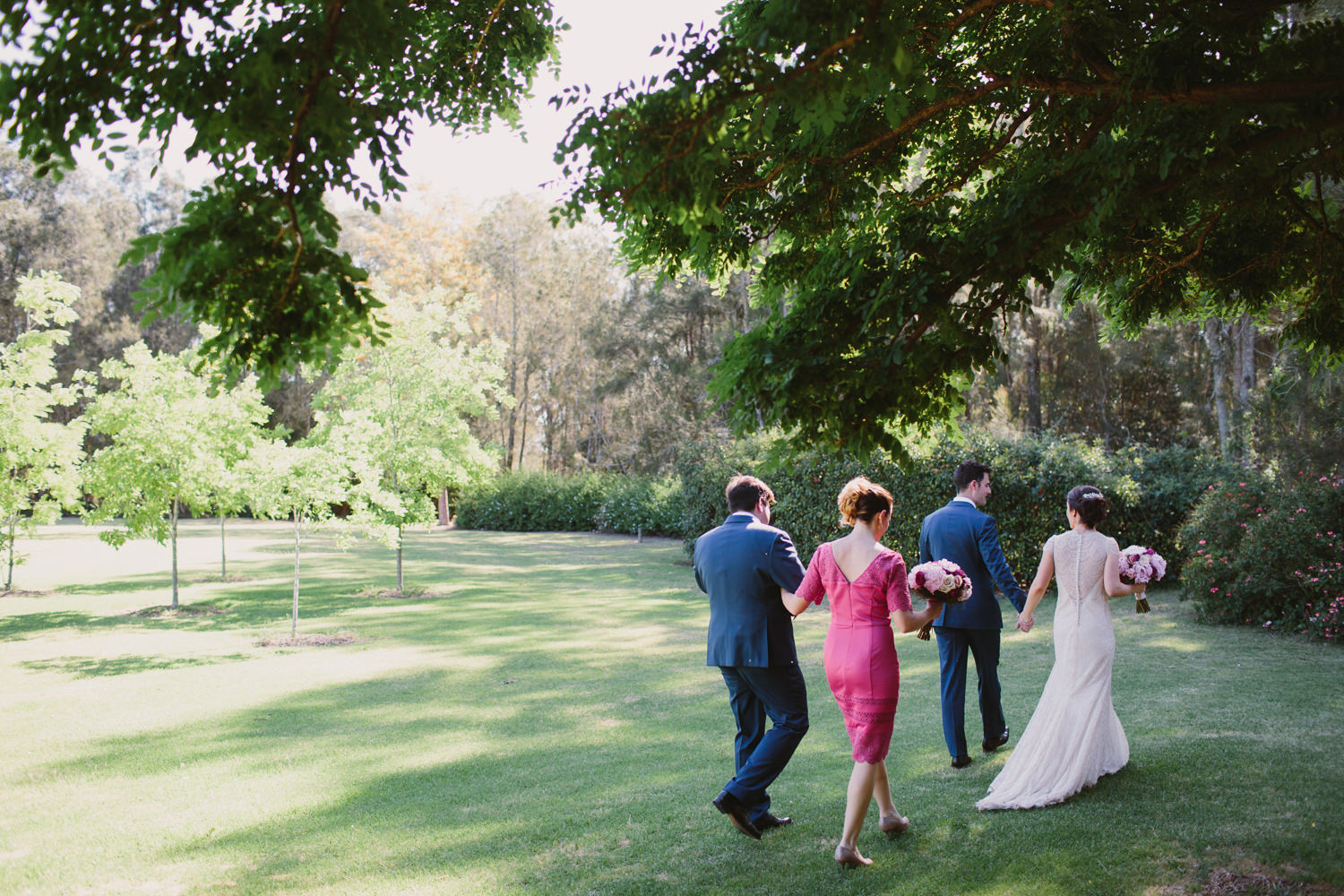 Candid moment with bridal party after Hunter Valley ceremony