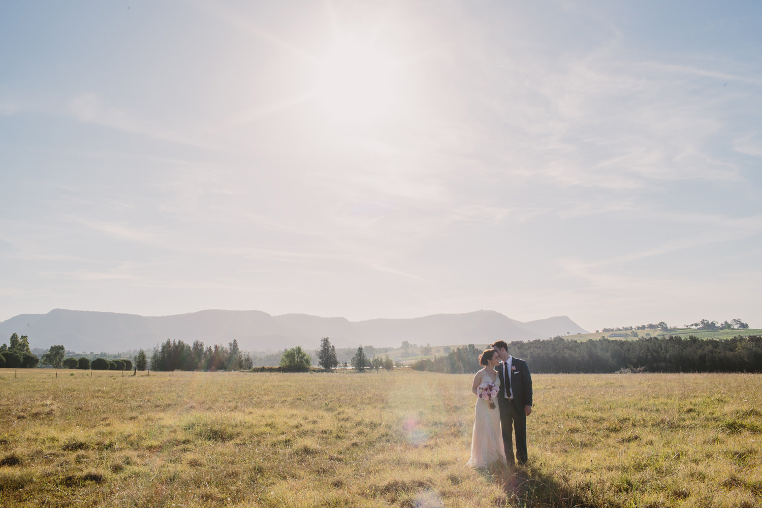 Sunset wedding photography in the Hunter Valley