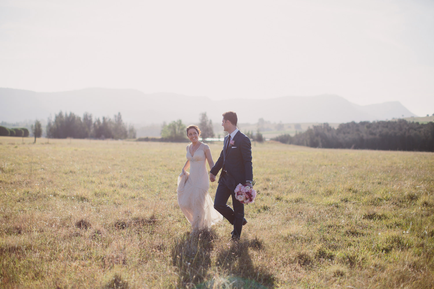 Natural Wedding Photography in the Hunter Valley with Bride and Groom