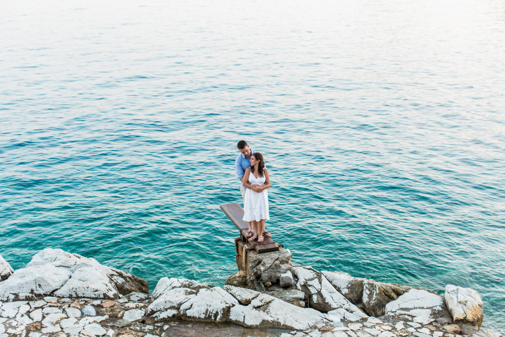 skiathos engaged couple taking photos