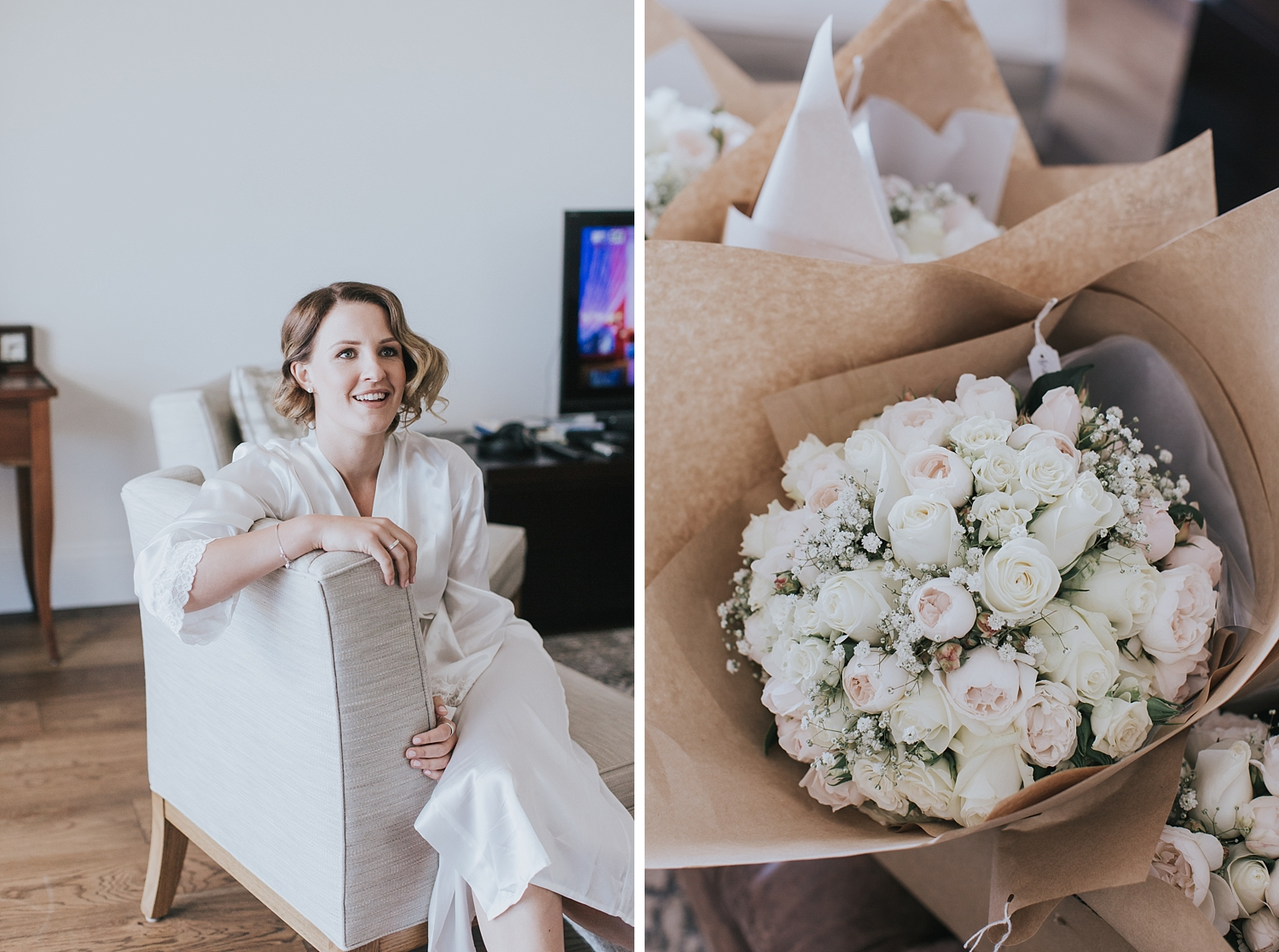 bridesmaid and wedding bouquets on wedding morning