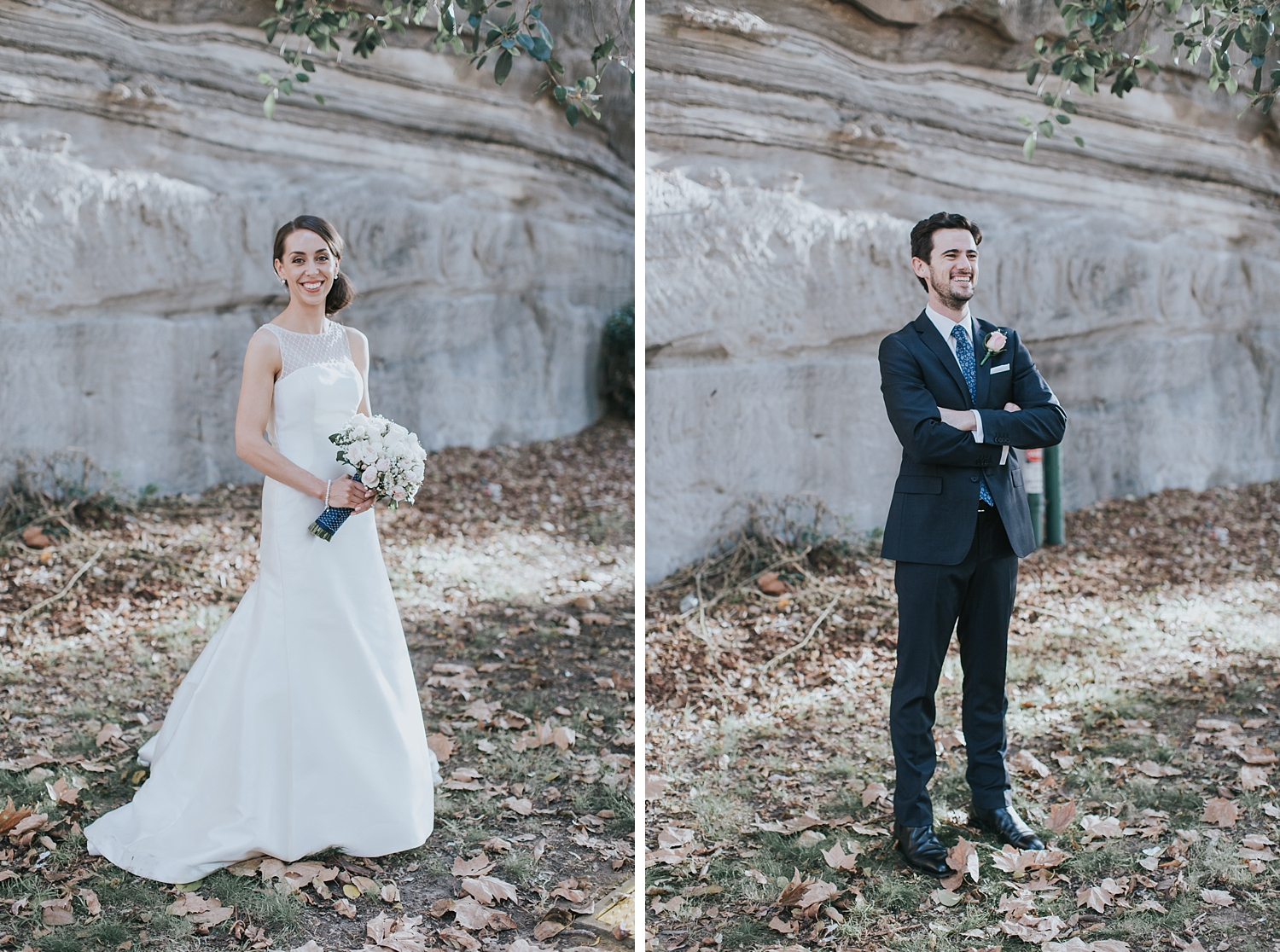 bride and groom in the rocks