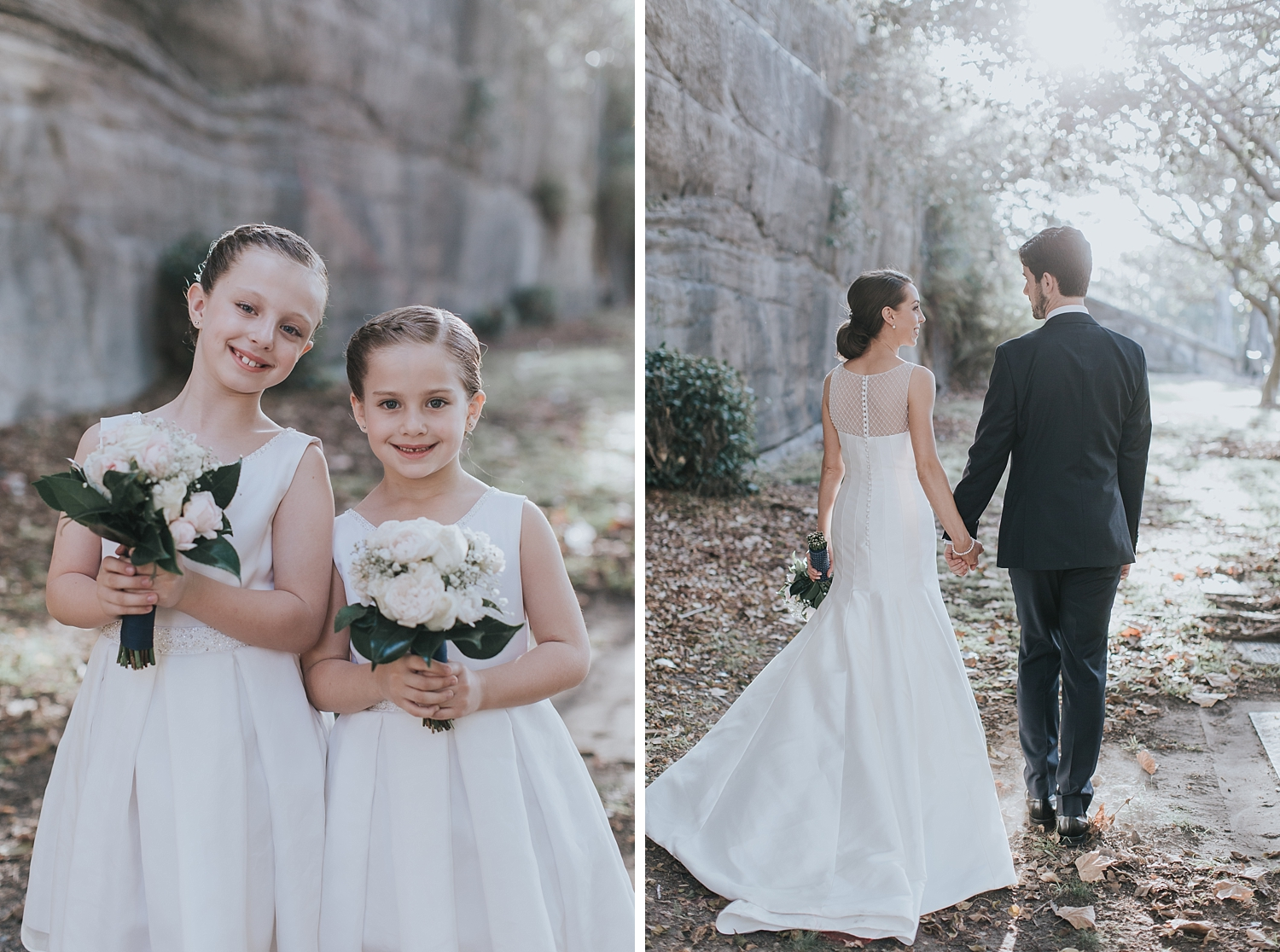 flowergirls and bride and groom
