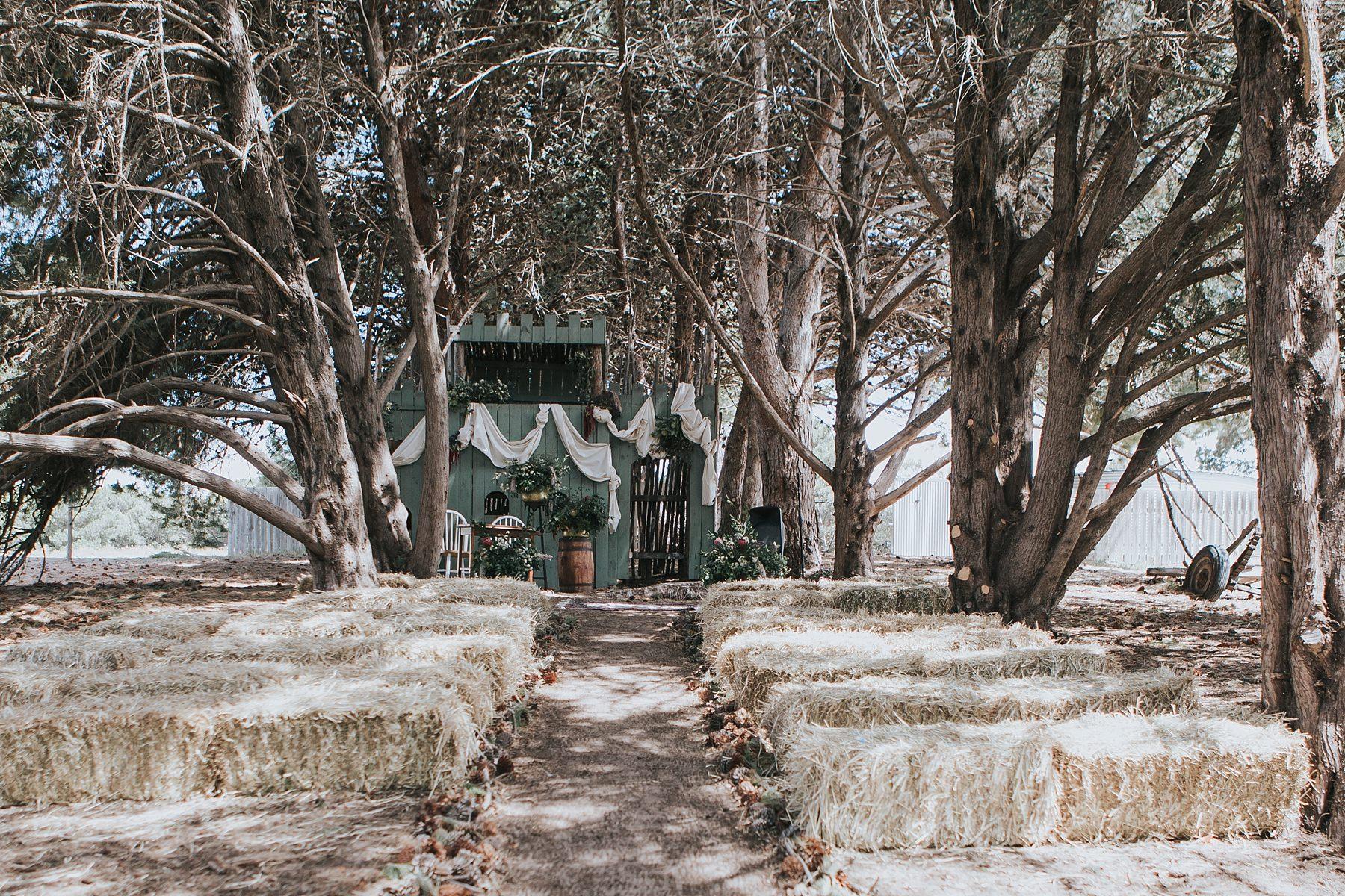 wedding ceremony under the trees