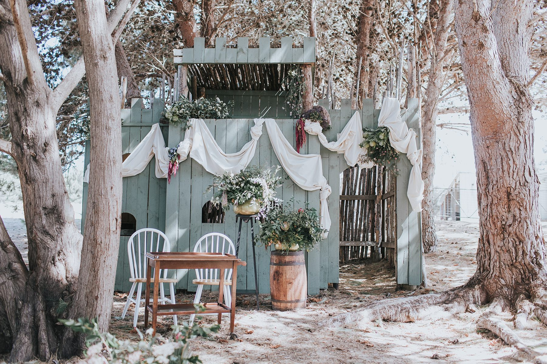 rustic farm wedding ceremony styling