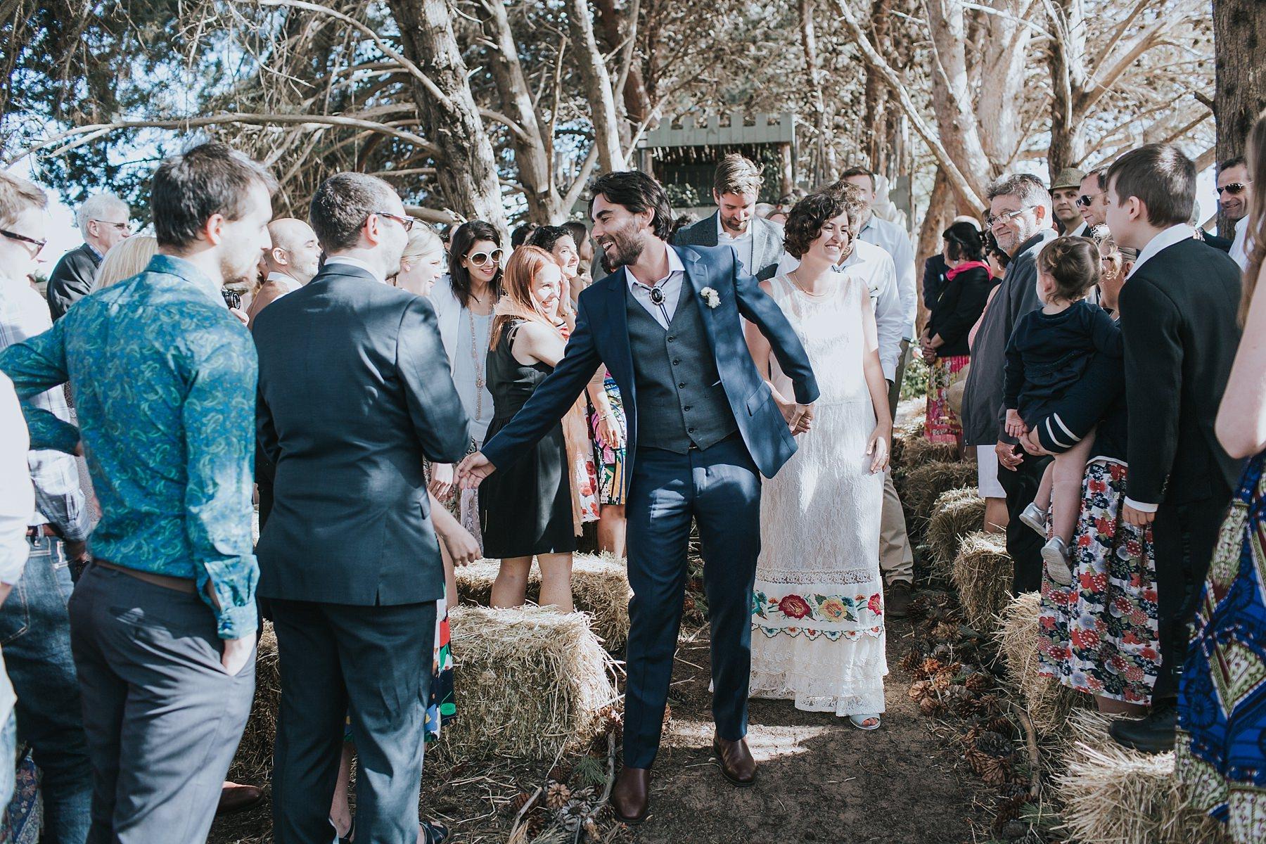 wedding recessional at narnu farm