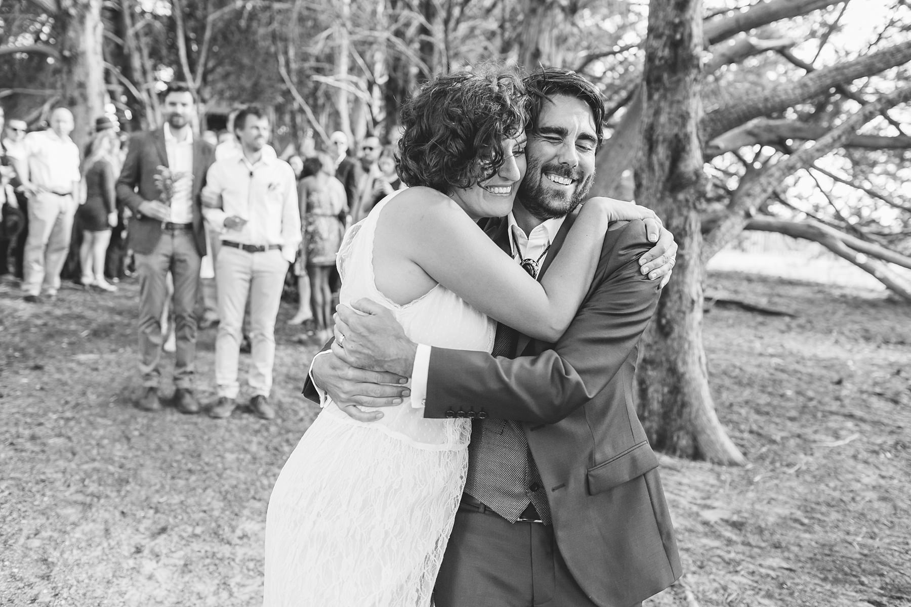 wedding day hugs