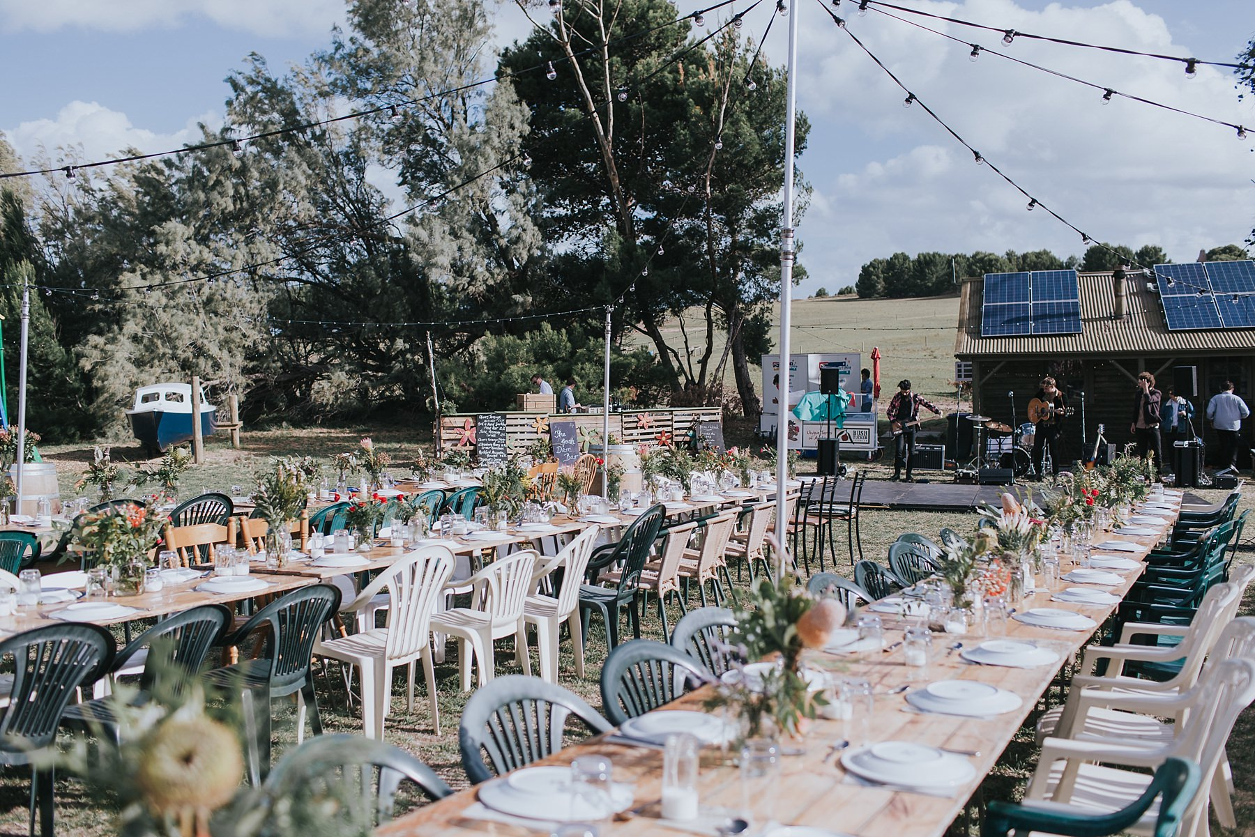 outdoor wedding reception at narnu farm