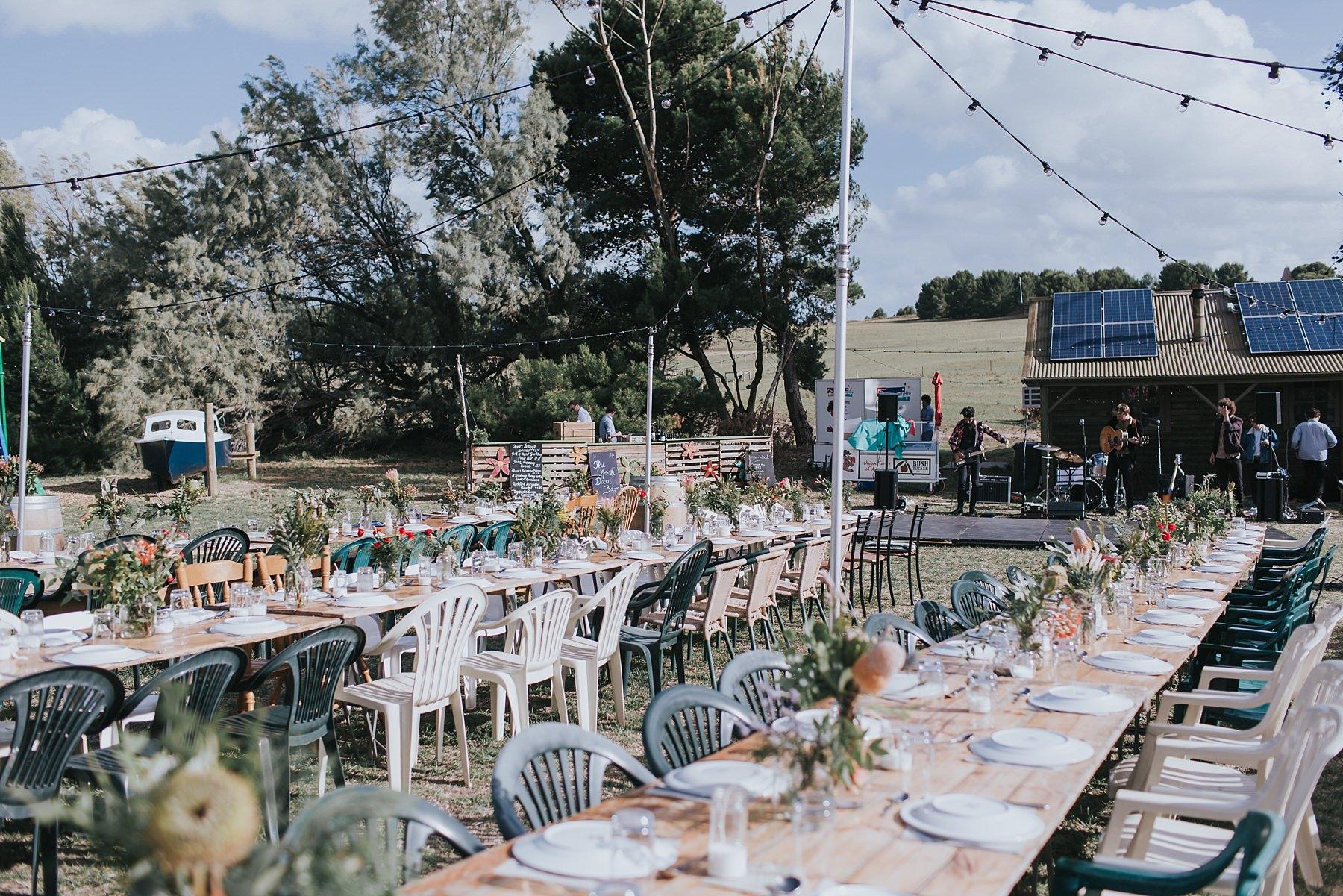 outdoor wedding reception at narnu farm