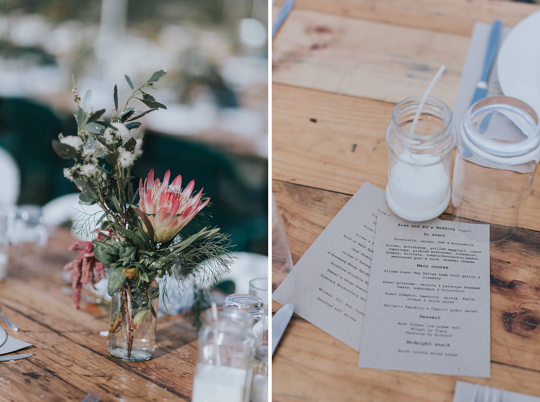 table details at narnu farm wedding