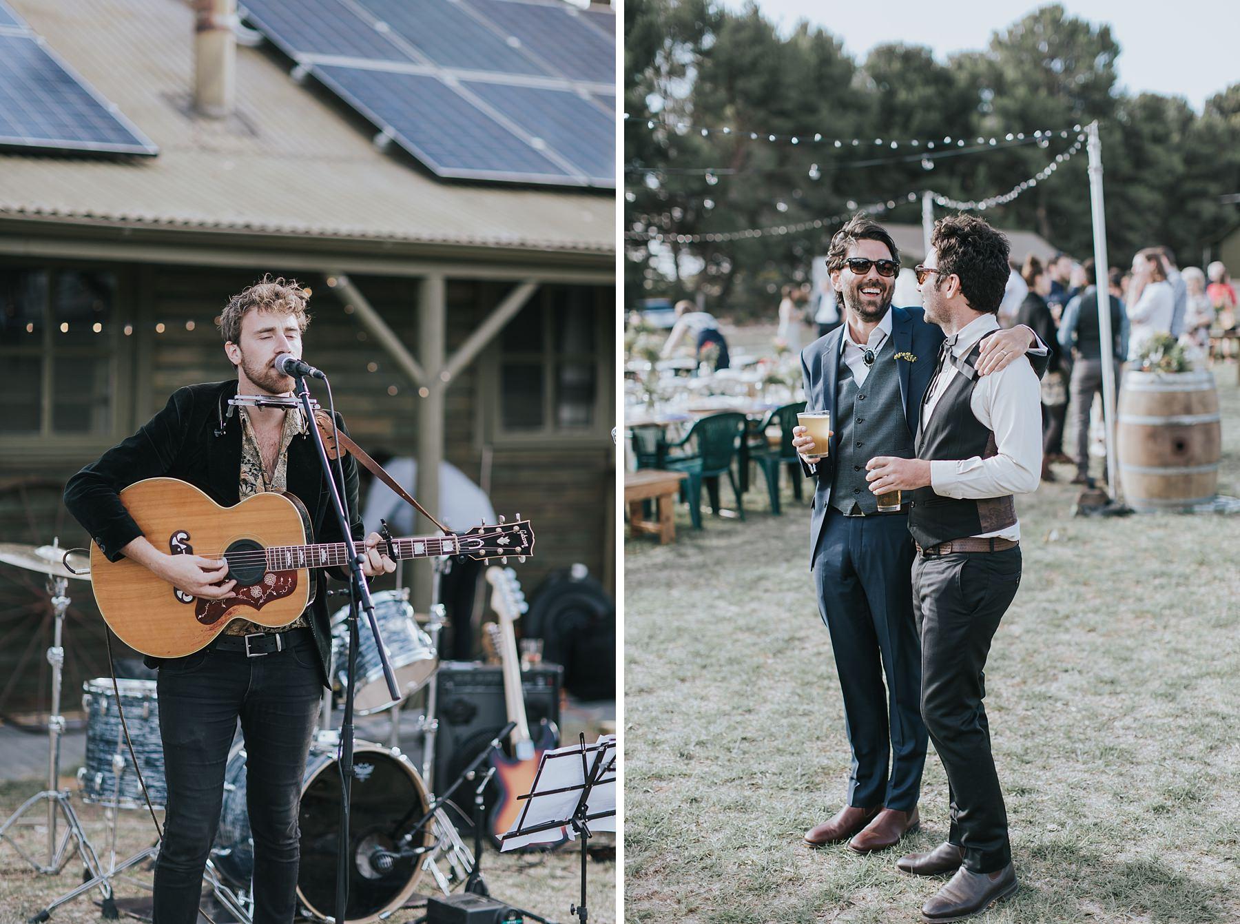 bush band playing live music at wedding reception