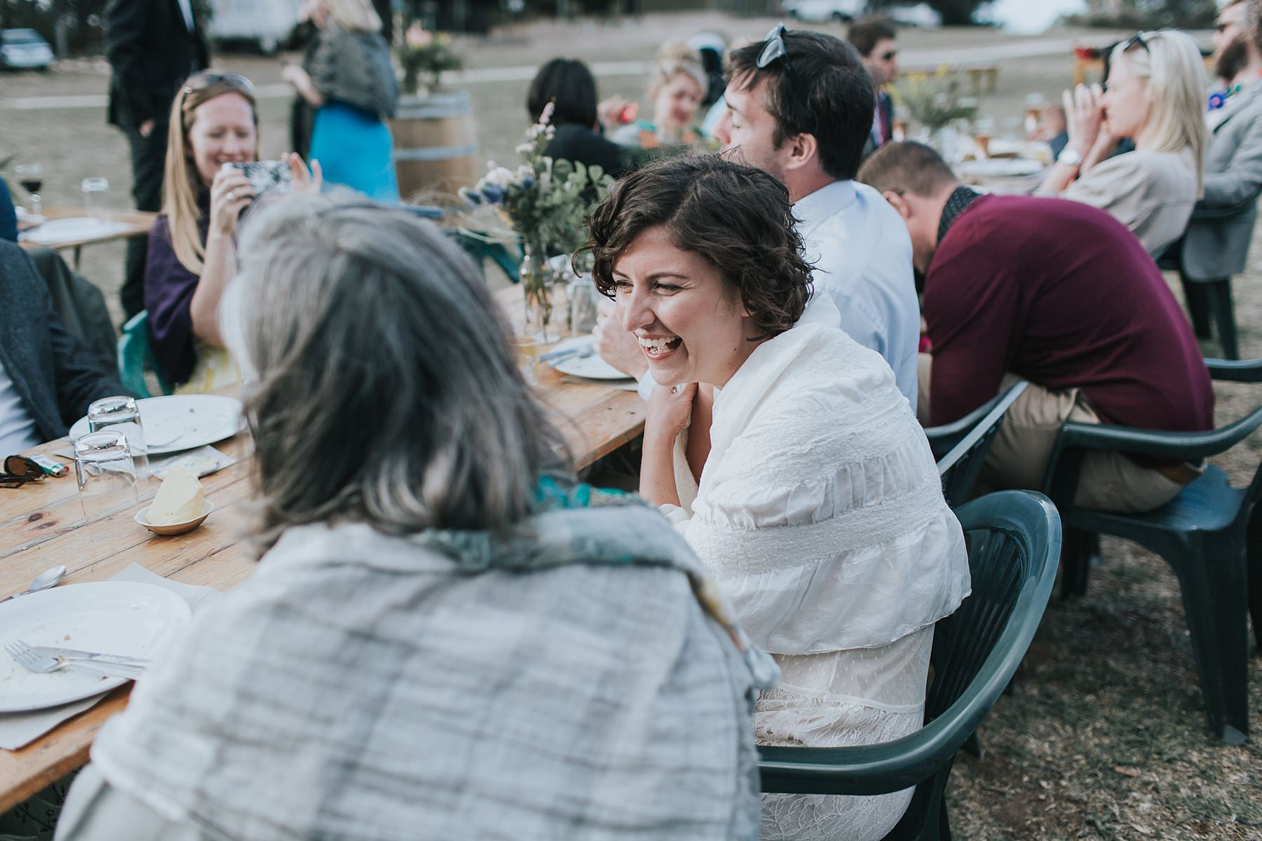 bride enjoying spending time with her guests