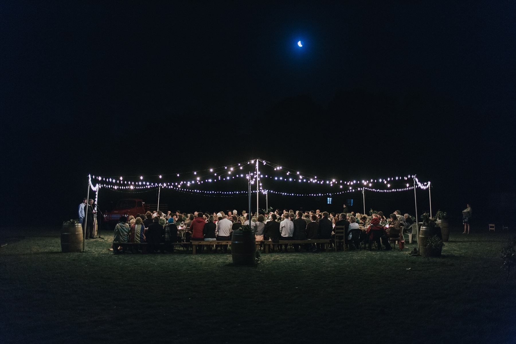 wedding day reception with festoonlighting