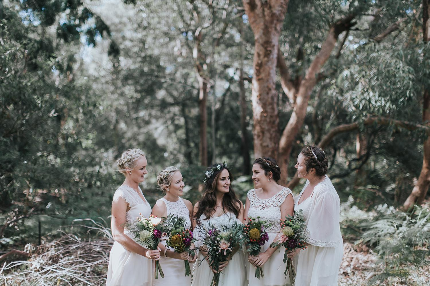 bride with her bridesmaids at the grounds