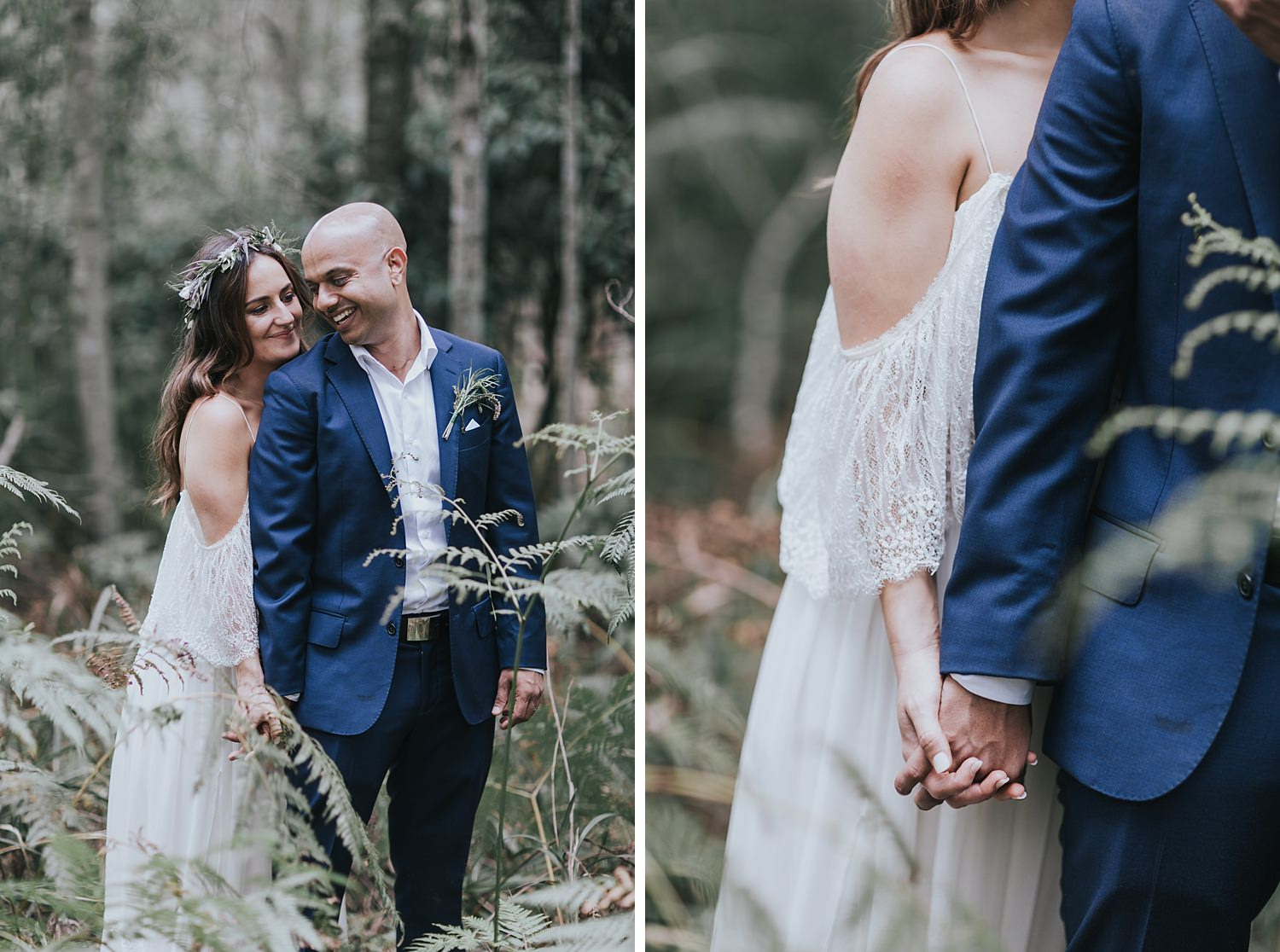 bohemian bride and groom in the forest