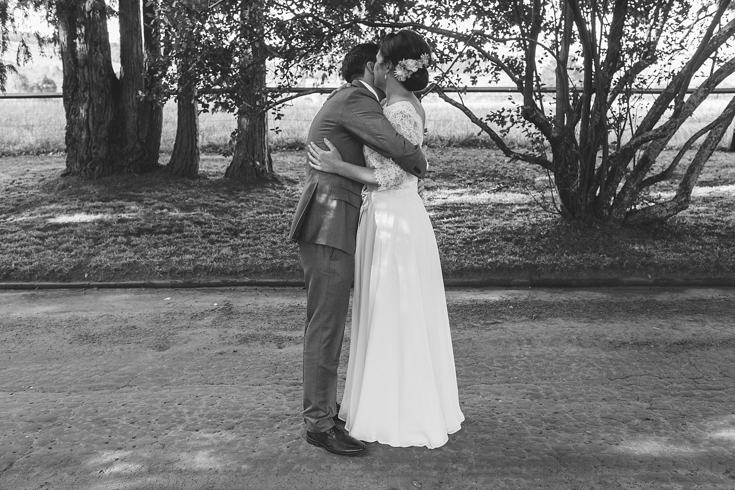bride and groom hug after first look at bendooley estate