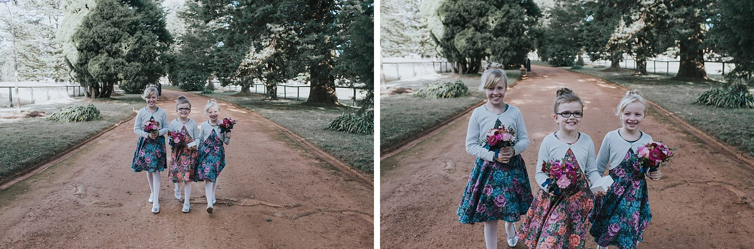 flowergirls run towards bride and groom after first look