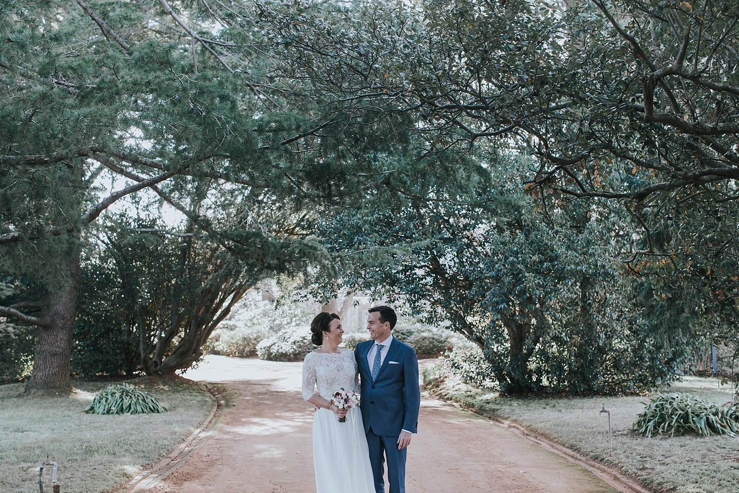 bride and groom first look portrait session in the southern highlands