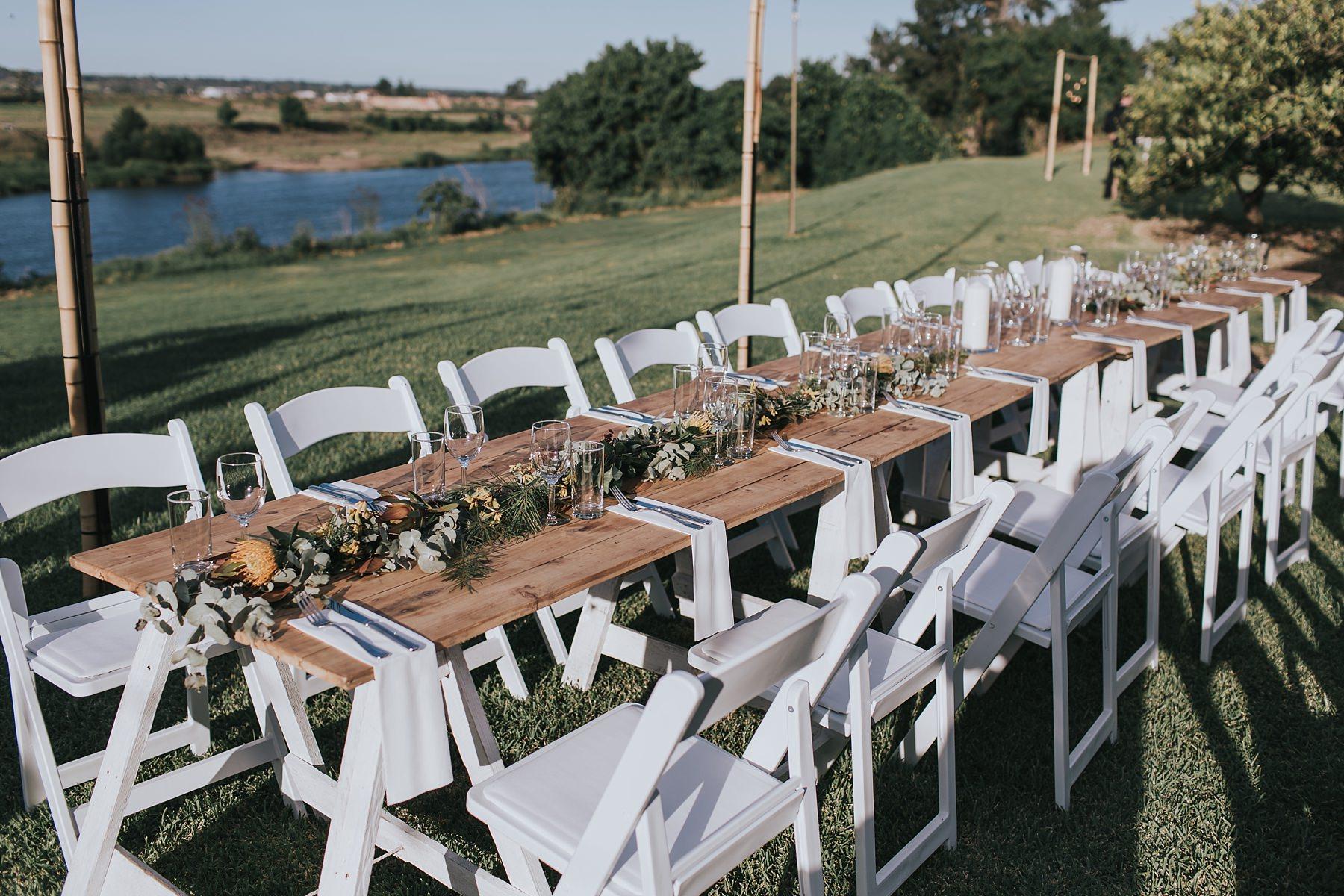 wedding reception table set up at cornwallis house