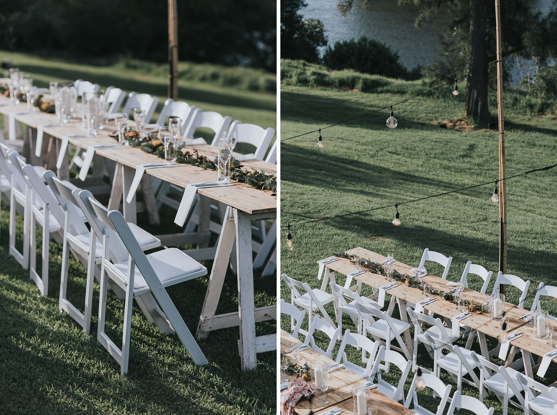 rustic wooden tables at wedding reception under the stars
