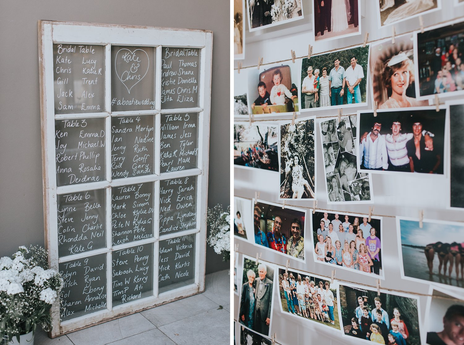 table seating chart at dunes wedding reception