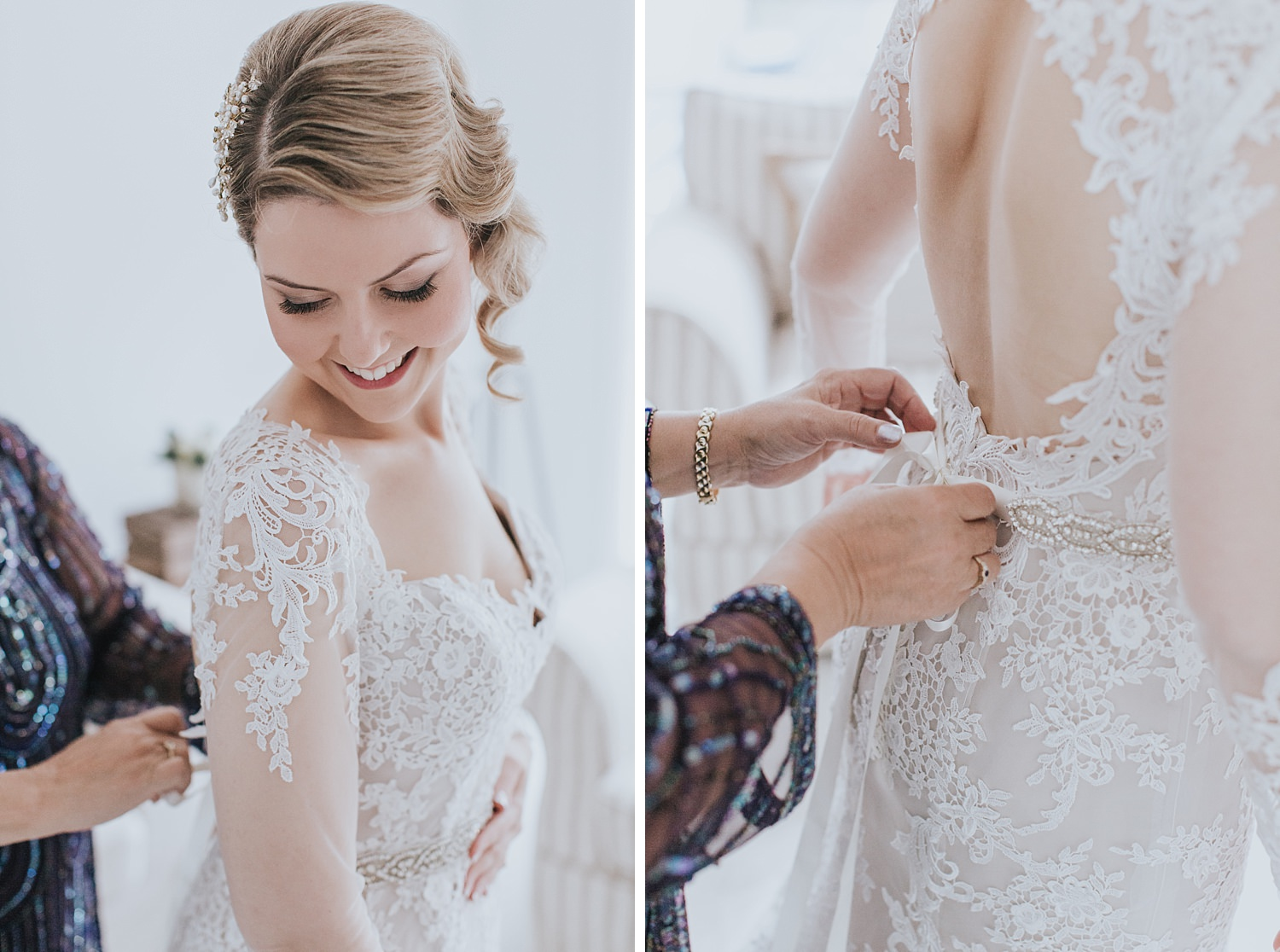 beautiful rustic bride details with lace gown