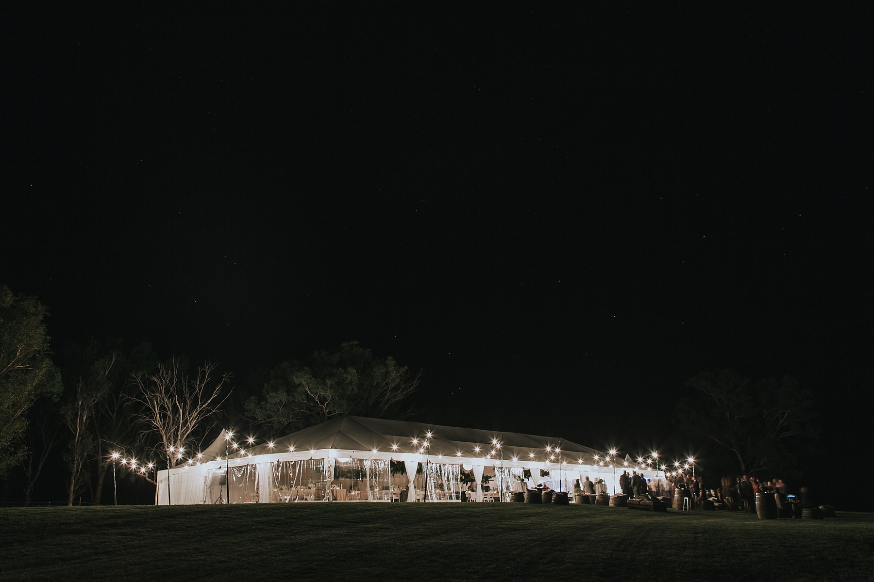 mudgee wedding reception marquee night time