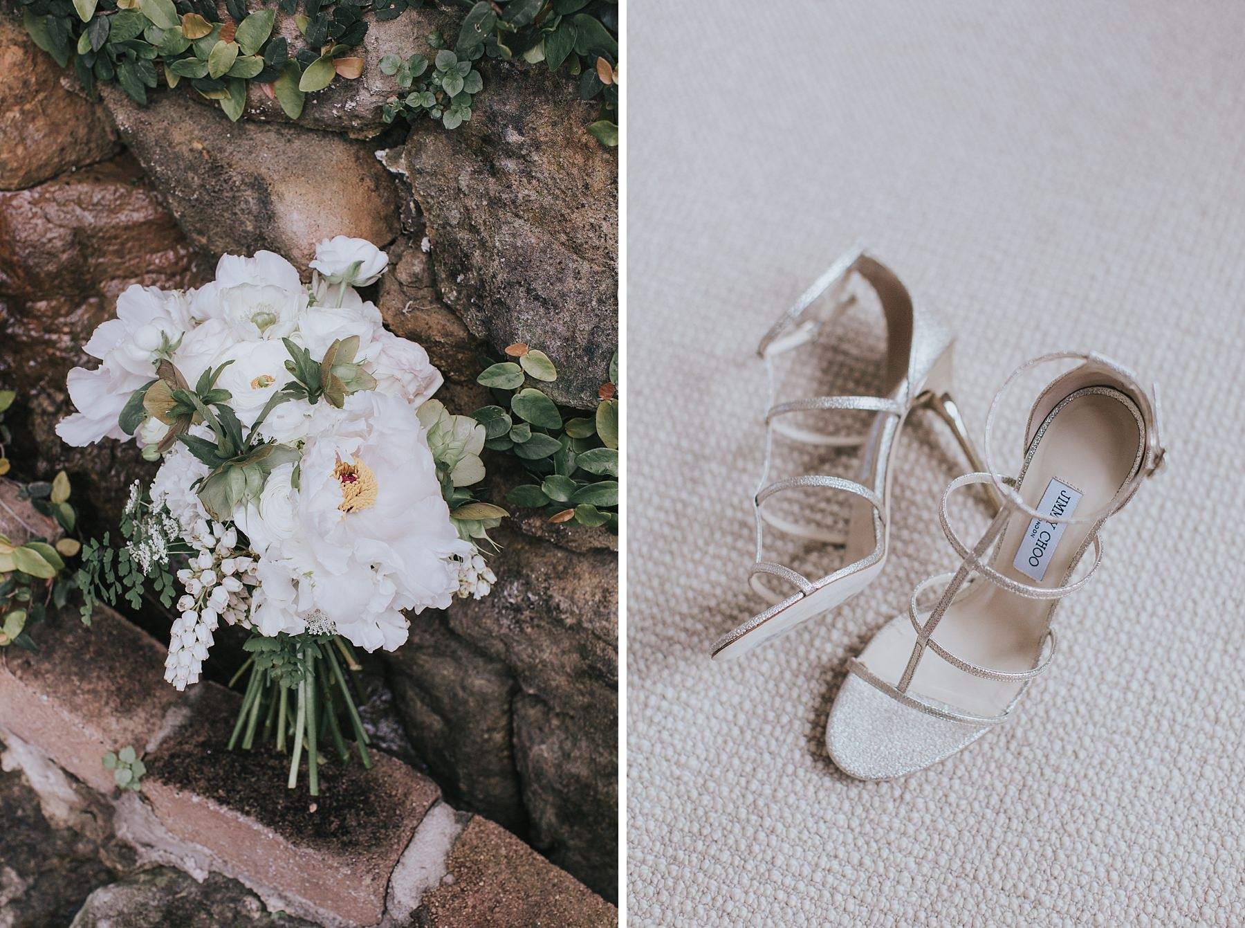 flowers bouquet and jimmy choo on your wedding day