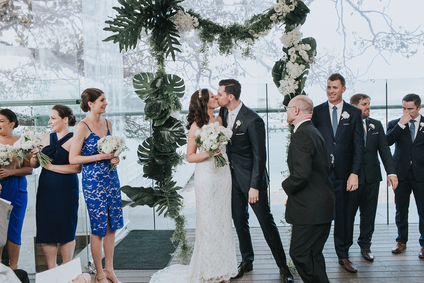 first kiss for husband and wife on wedding day