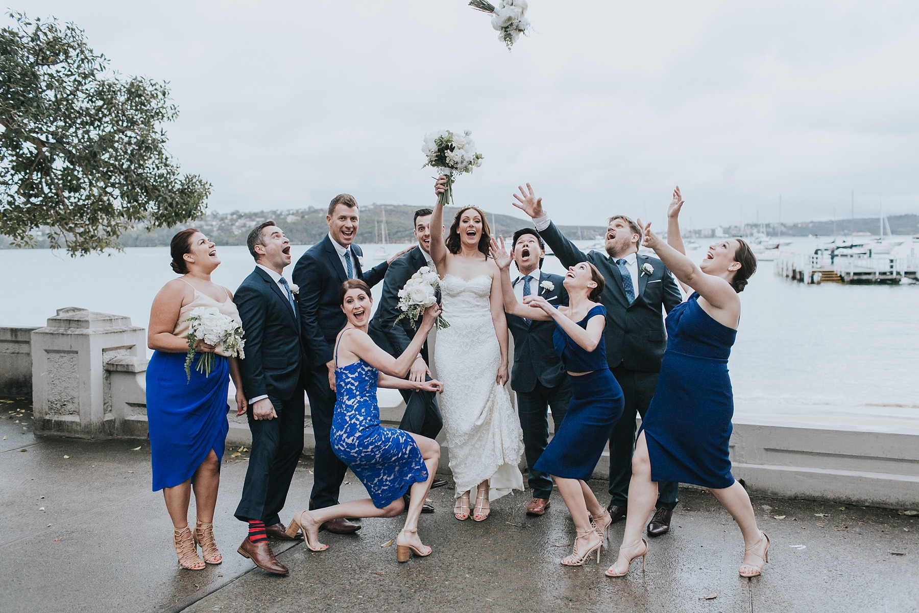 having fun with the bridal party at balmoral beach