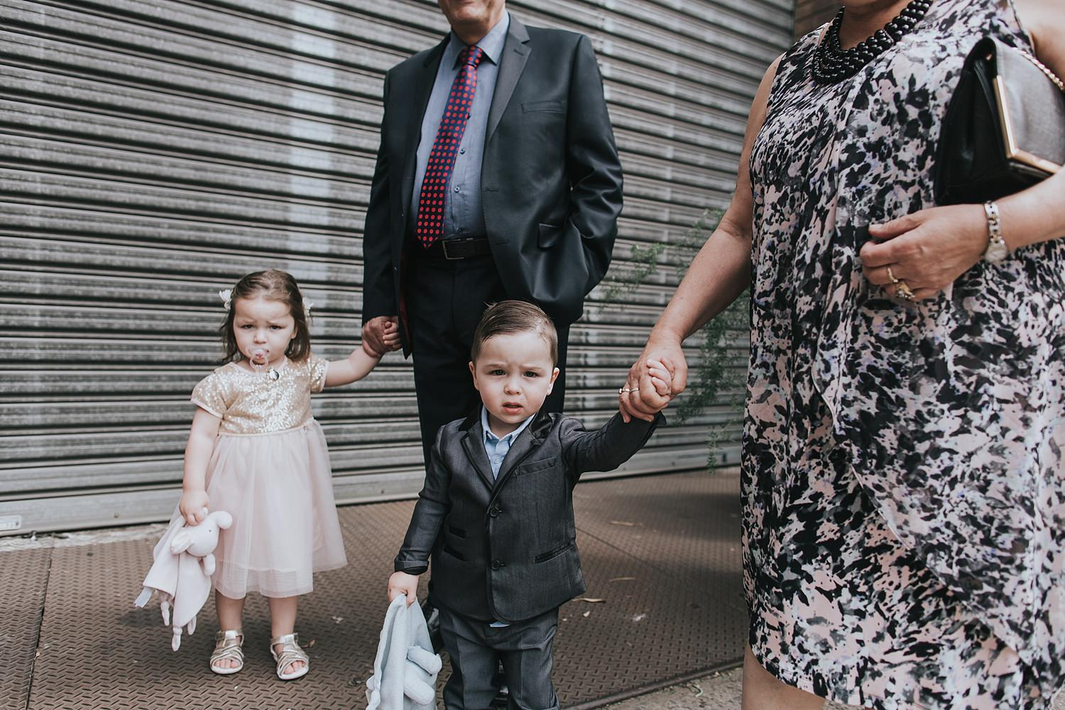 kids on a wedding day in sydney