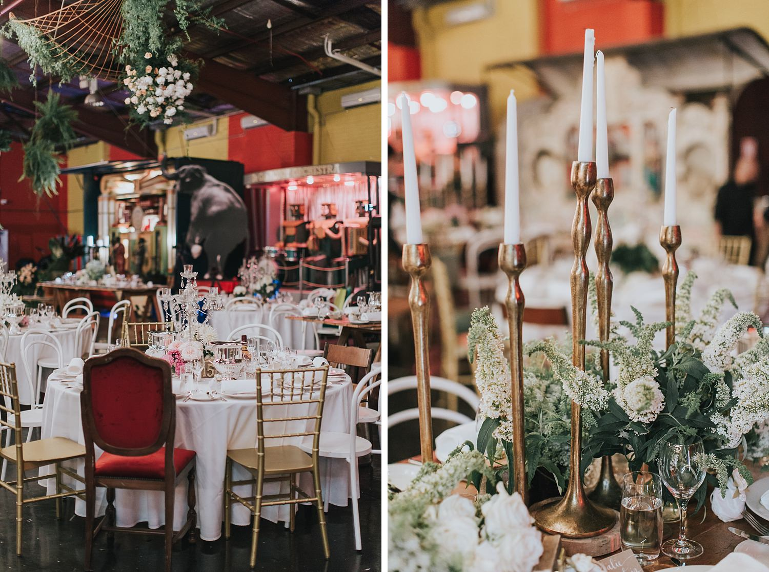 candles and rustic wedding reception details at fairground follies