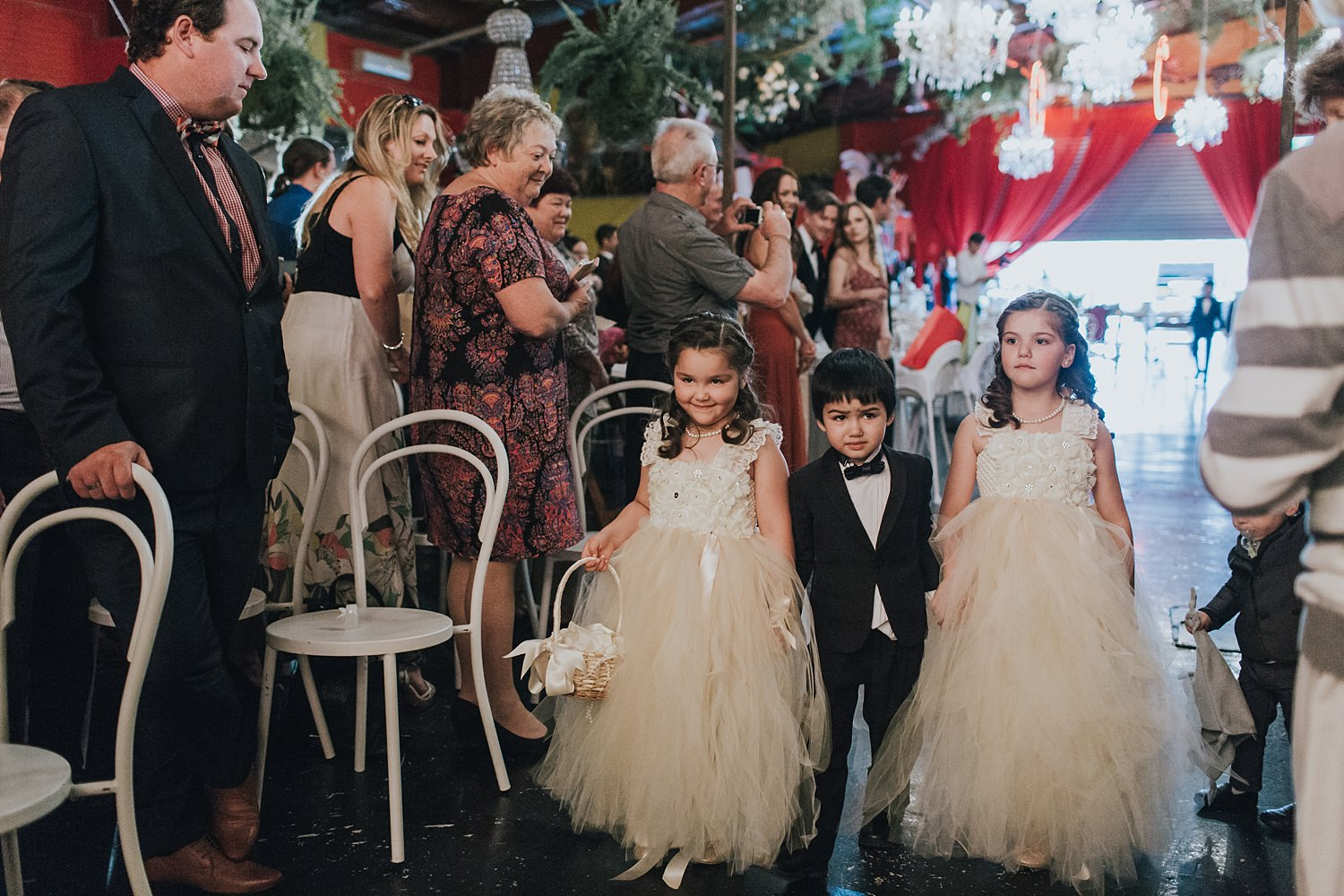 flowergirls at sydney wedding at fairground follies