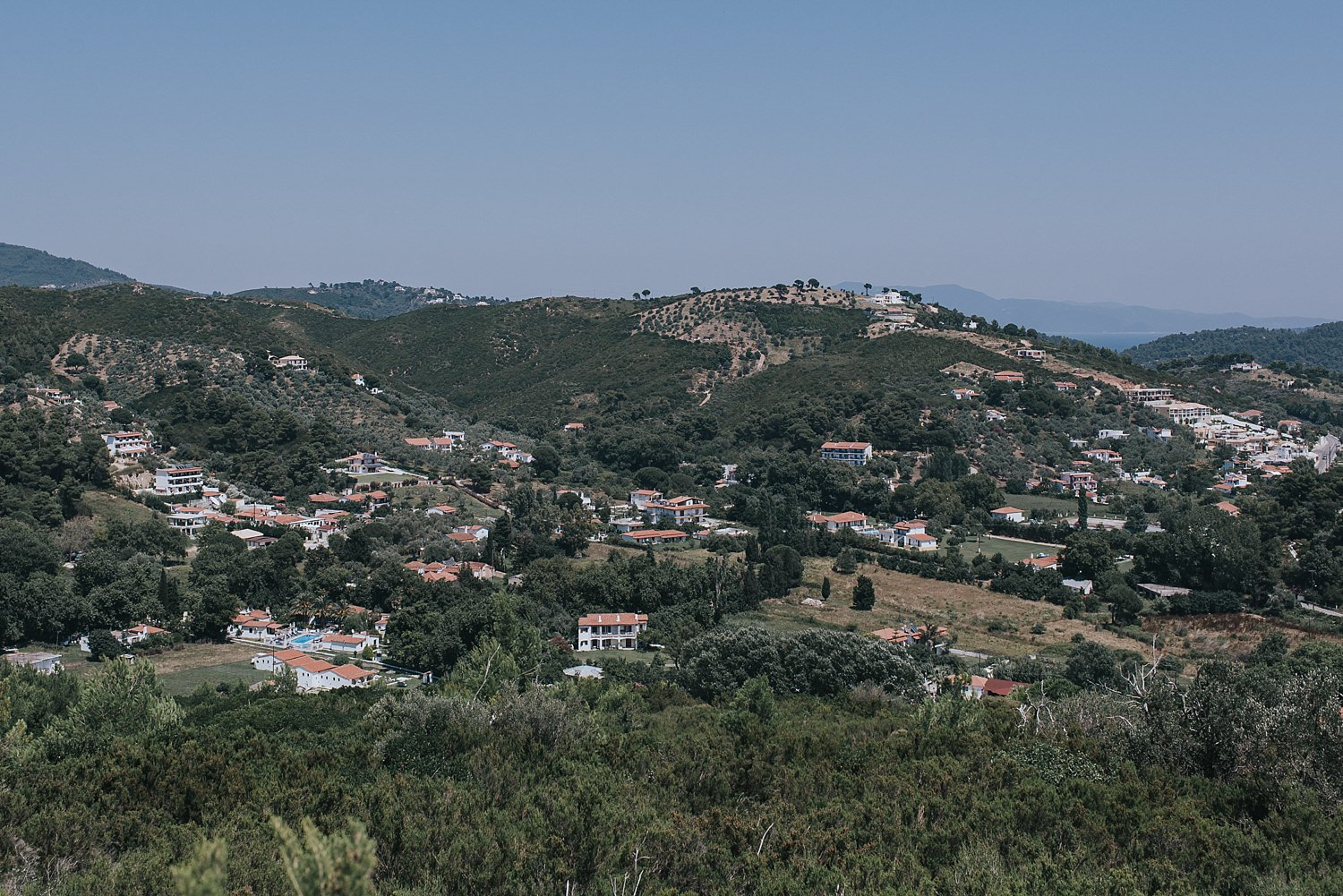 the view of skiathos island from the top