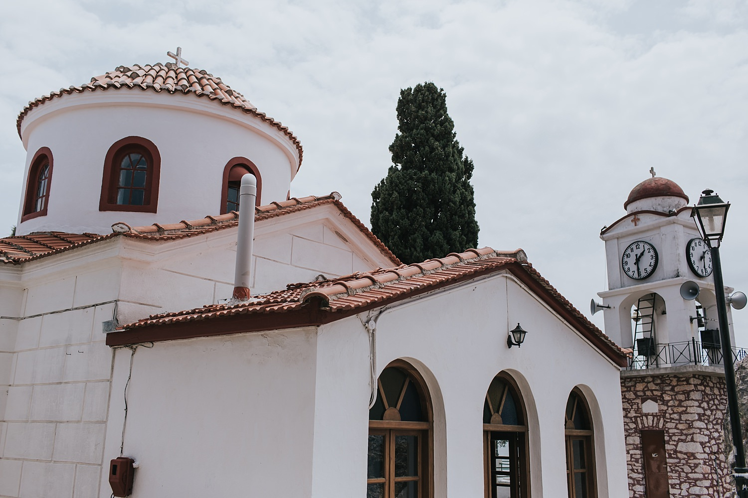 greek orthodox church at the top of skiathos town