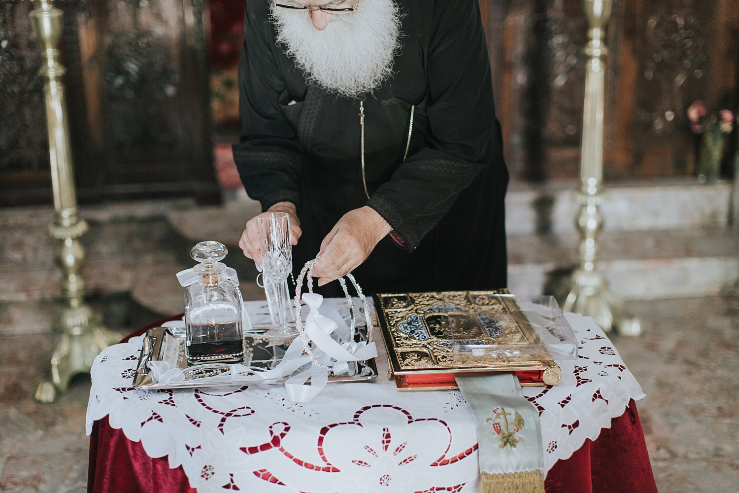orthodox priest prepares the wedding sacrament