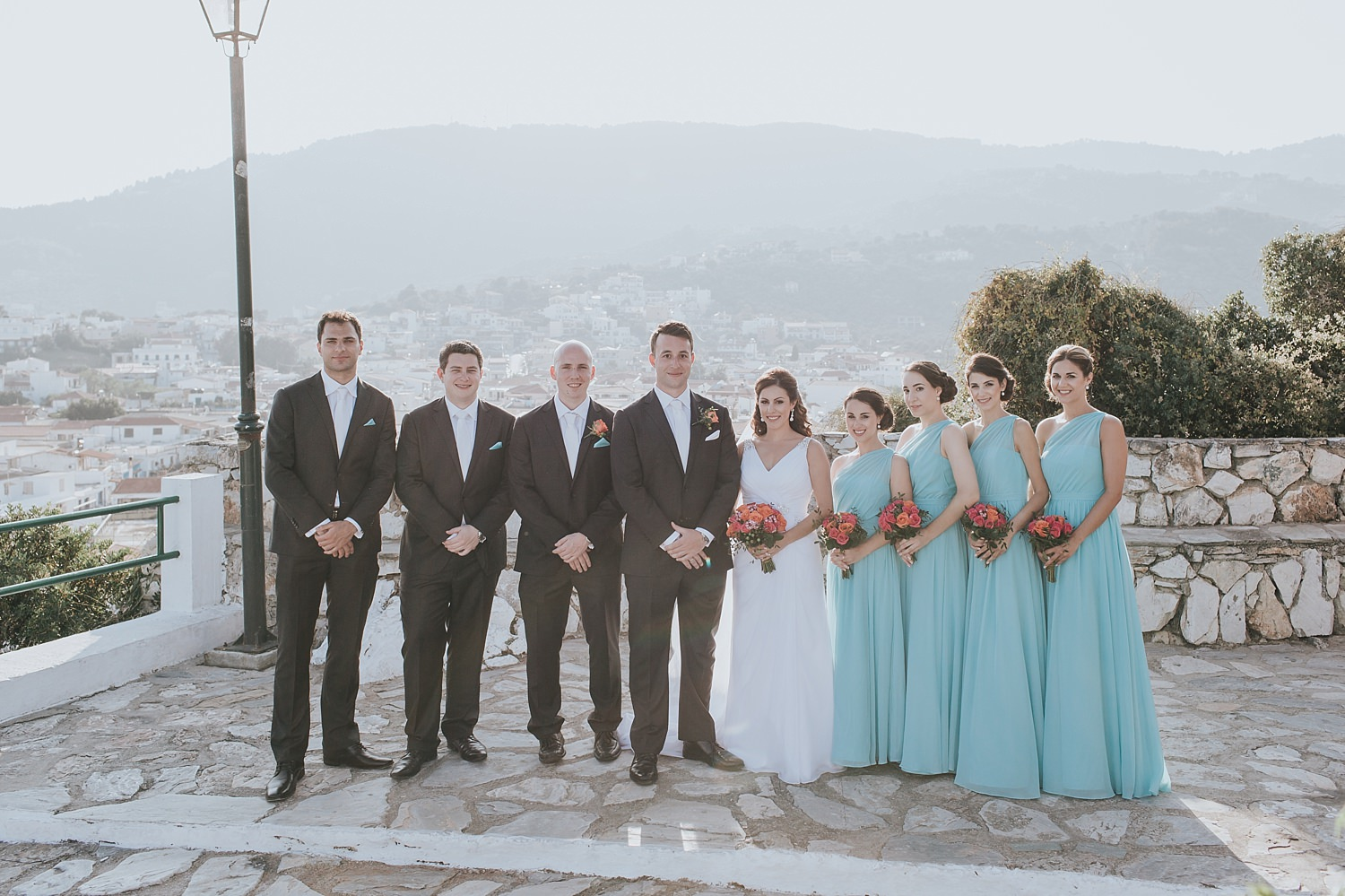 bridal party on top of skiathos town