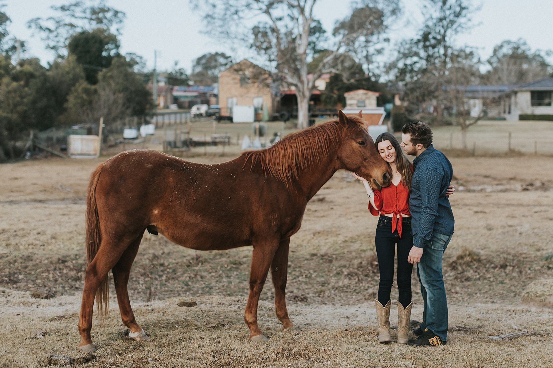 farm engagement shoot with horses