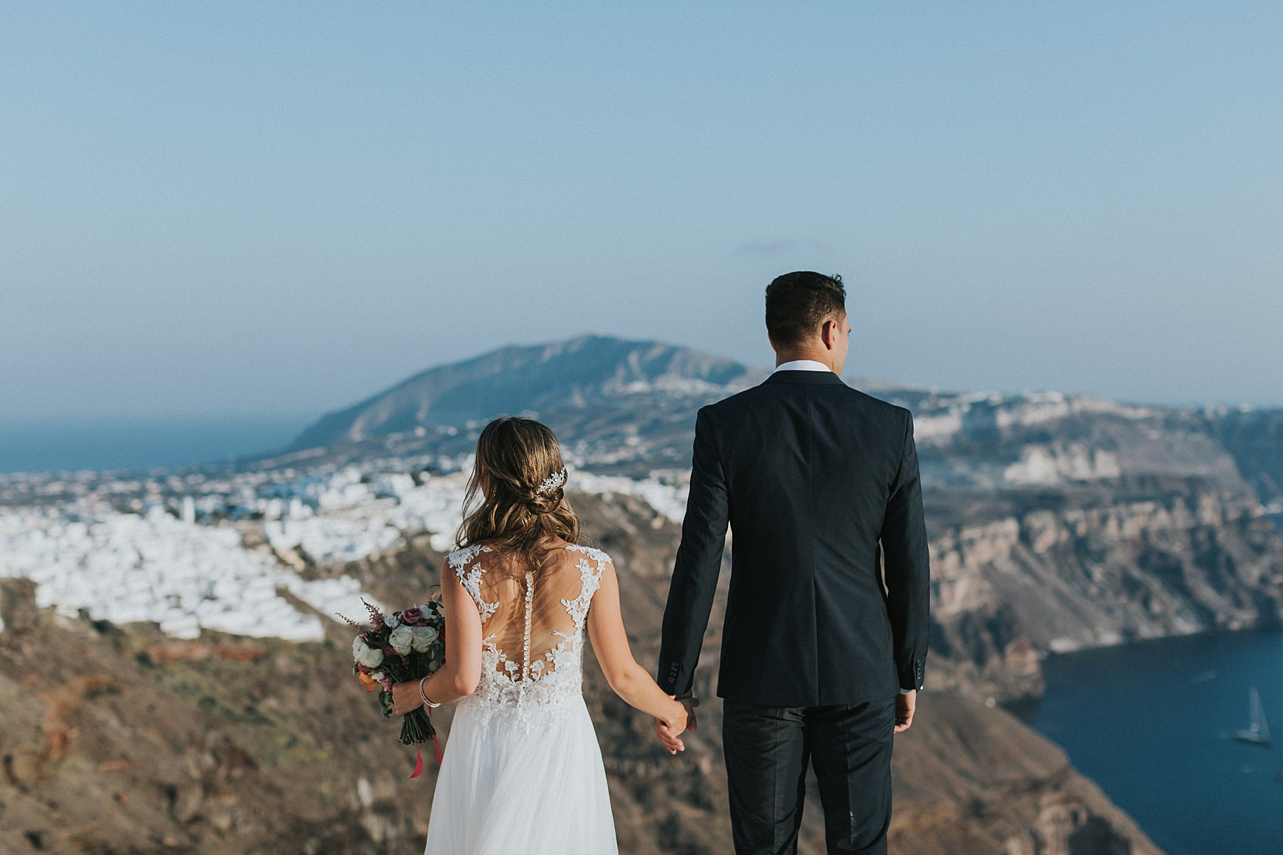 portraits during santorini wedding photography