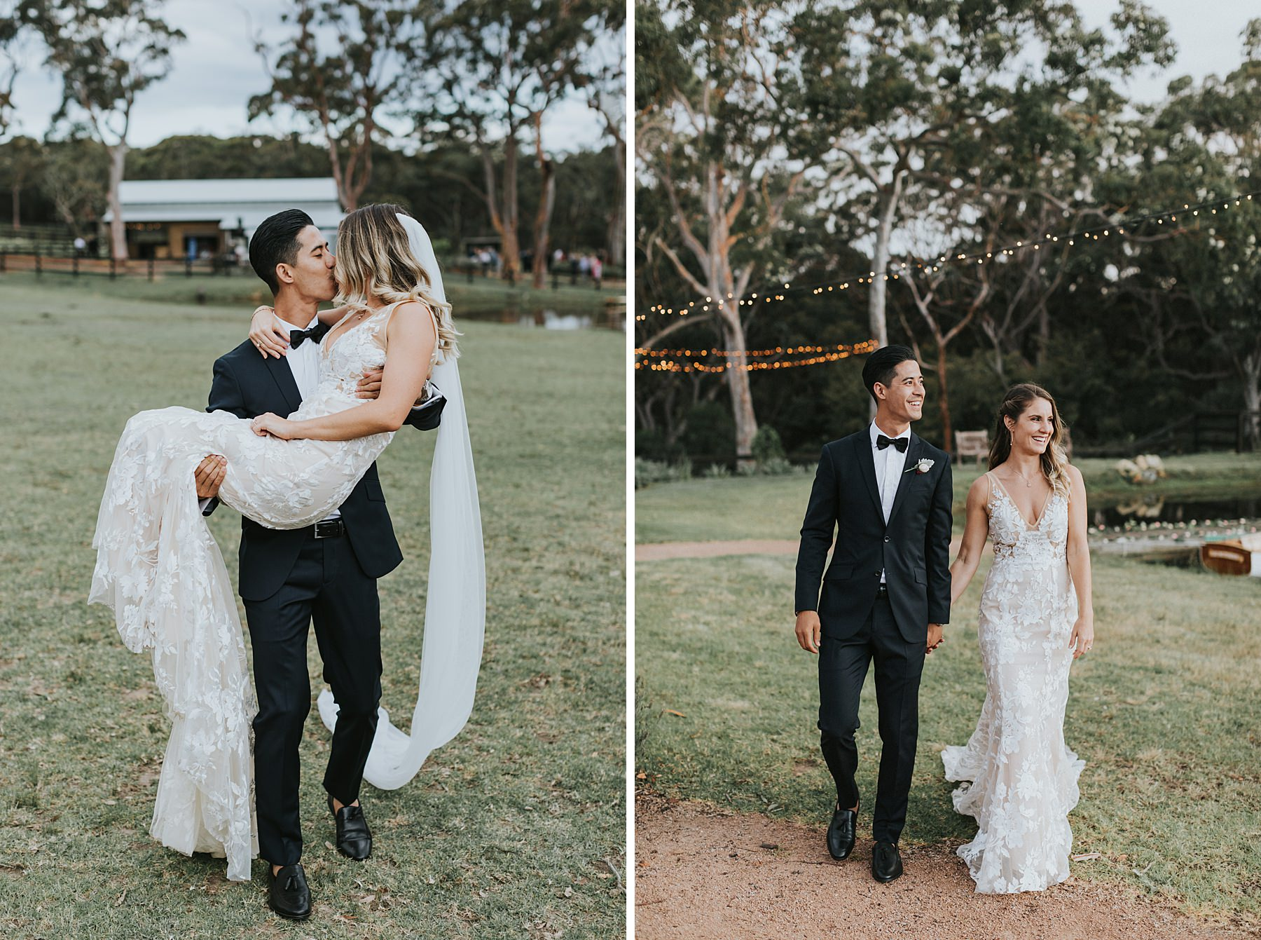 silvergum stables wedding photographs by the lake during golden hour