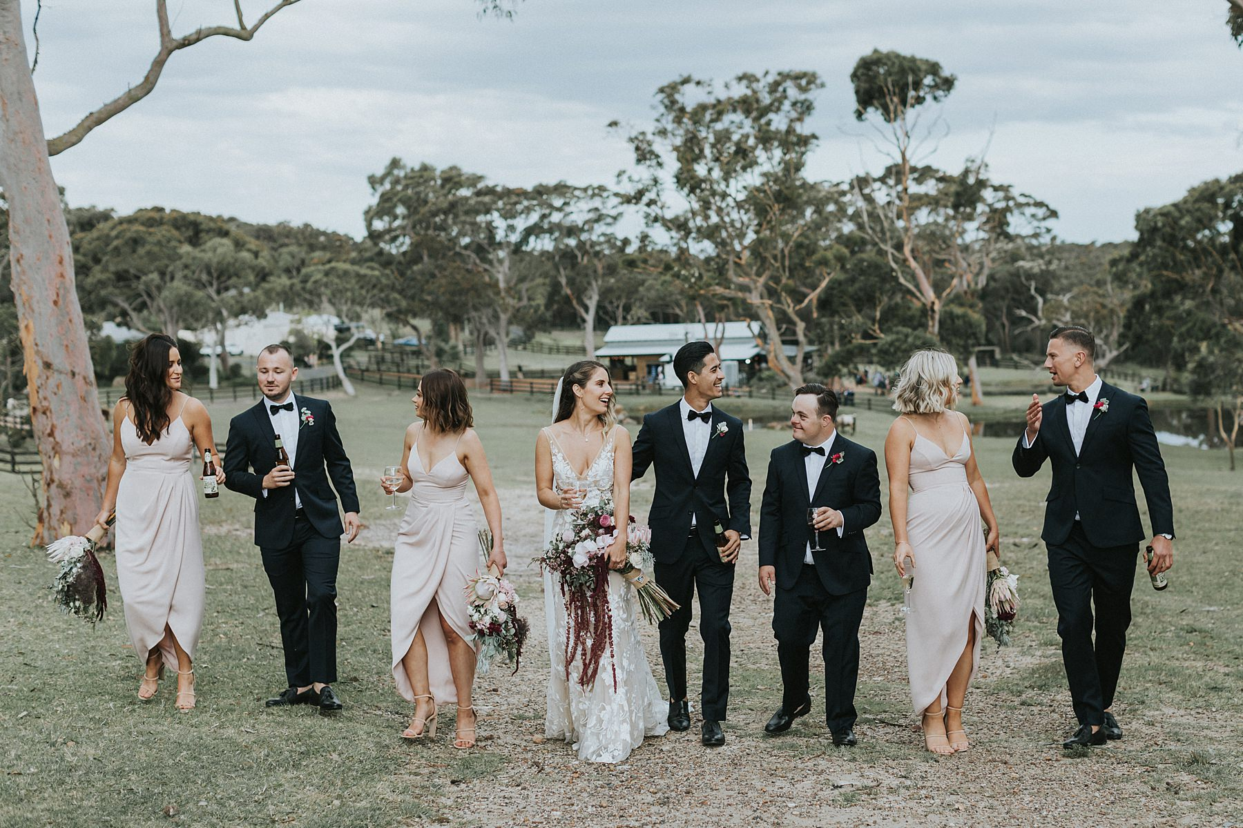 silvergum stables wedding photographs with bridal party