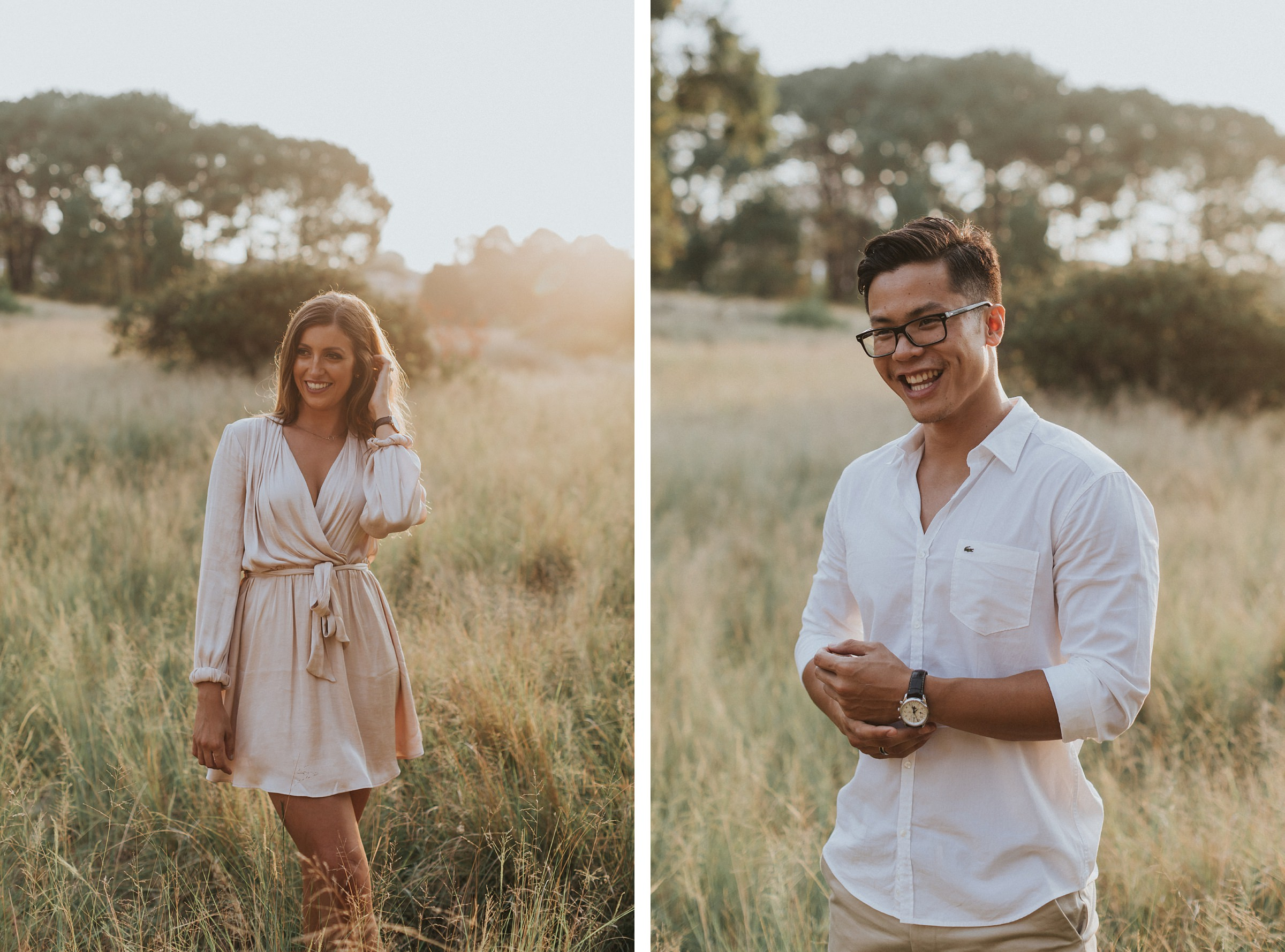 engagement photos in centennial park with natural couples