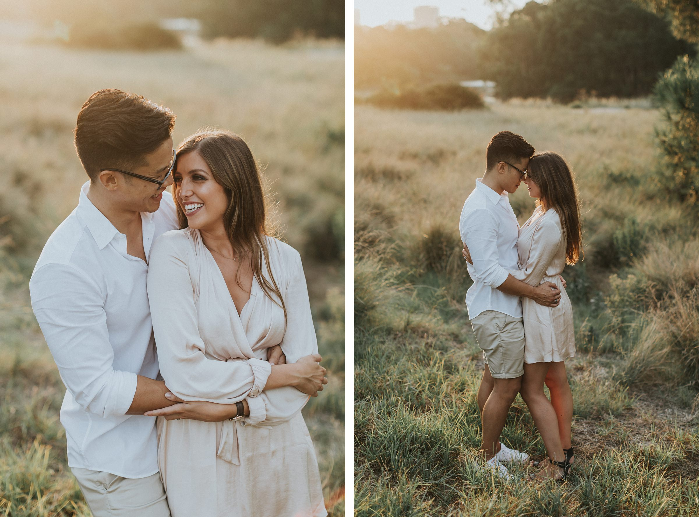 sunset golden hour engagement photography